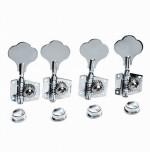 4pcs R Vintage Open Bass Tuners Machine Heads Knobs Chrome
