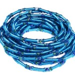 Piano Wire Eternity Bracelets – Set of 12 Stackable Strands – Turquoise Blue – Packaged in an Organza Jewelry Gift Bag