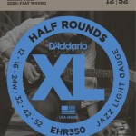 D'Addario EHR350 Half Round Electric Guitar Strings, Jazz Light, 12-52