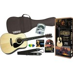 Yamaha Gigmaker Deluxe Acoustic Guitar Package with Gig Bag, Tuner, Instructional DVD, Strap, Strings, and Picks – Natural