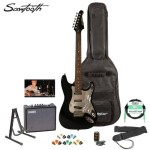 Sawtooth ST-ES-BKC-KIT-3 Black Electric Guitar with Chrome Pickguard – Includes Accessories, Amp, Gig Bag and Online Lesson