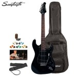 Sawtooth ST-ES-BKB-KIT-2 Black Electric Guitar with Black Pickguard – Includes Accessories, Gig Bag and Online Lesson