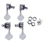 Chinatera 1set of 4pcs 2L2R Silver Vintage Open Bass Tuning Keys Pegs Tuners Machines Heads Knobs