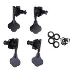 Chinatera 1set of 4pcs 2L2R Black Vintage Open Bass Tuning Keys Pegs Tuners Machines Heads Knobs