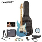 Sawtooth ST-ES-DBLP-KIT-3 Daphne Blue Electric Guitar with Pearl White Pickguard – Includes Accessories, Amp, Gig Bag and Online Lesson
