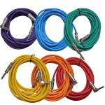 Seismic Audio SAGC20R-BRPGYO Colored 20-Feet Right Angle to Straight Guitar Cables, 6-Pack