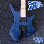 Gracelove 6 String Purple Color Headless Electric Guitars (Blue guitar)