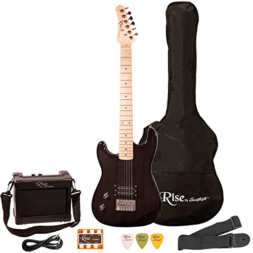 Rise by Sawtooth ST-RISE-ST-LH-3/4-BLK-KIT-1 Electric Guitar Pack, Left Handed, Black