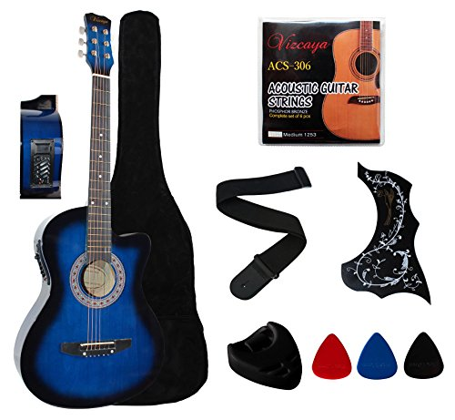 YMC 38″ Beginner Acoustic Electric Guitar Starter Package Cutaway Style Student Guitar with Gig Bag,Strap,Picks,Pickguard,Extra Strings,- Blue