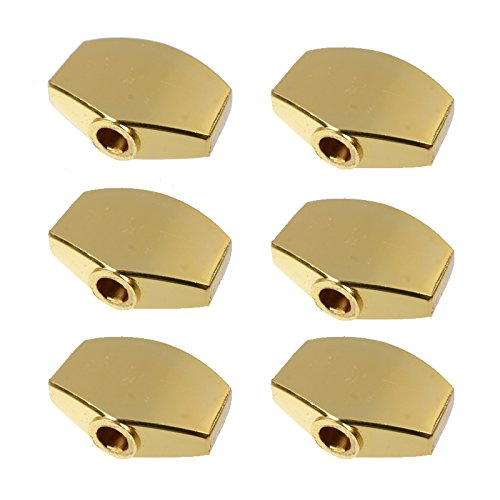 6Pcs Metal Big Square Shape Guitar Tuning Peg Tuners Machine Head Replacemen Buttons knob Handle Tip,Gold,MusicOne
