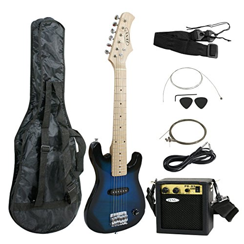 Smartxchoices 30″ Inch Kids Electric Guitar With 5W Amp & Much More Guitar Combo Accessory Kit (Blue)