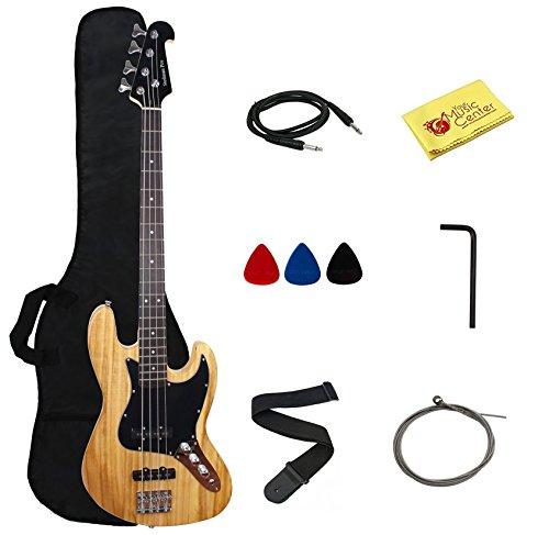 Stedman Pro Electric Bass Guitar Jazz Bass Guitar Style, Rosewood Fingerboard – Natural Wood