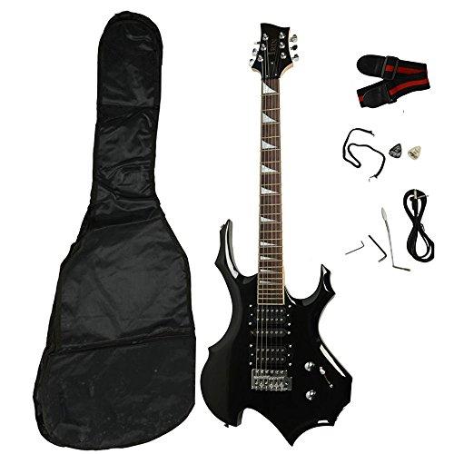 z ztdm black electric guitar with case and accessories pack beginner starter package guitar. Black Bedroom Furniture Sets. Home Design Ideas