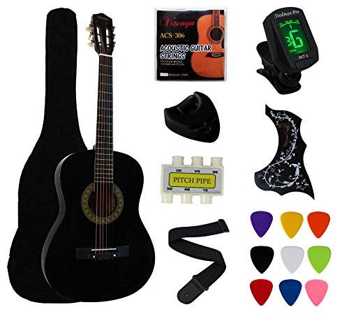 Crescent 38″ Black Beginner Acoustic Guitar Starter Package Student Guitar with Gig Bag,Strap,& Electronic Tuner -Black