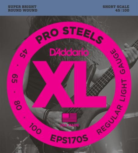 D'Addario EPS170S ProSteel Bass Guitar Strings, Short Scale, Light