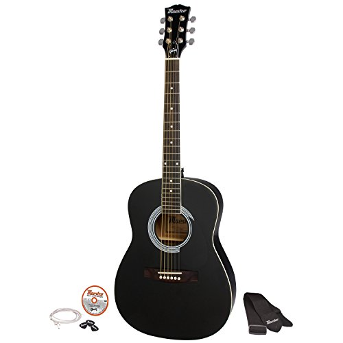 Gibson Maestro 38″ Parlor Size Acoustic Guitar, Ebony, with Accessories