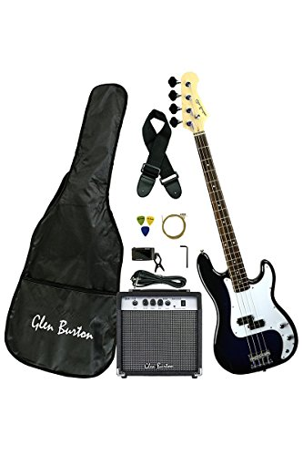 Premium Solid Body Blue Electric Bass (Base) Guitar Combo with 15 Watt Bass Amplifier, Extra Strings, Digital Tuner, Gig Bag, Guitar Strap, & DirectlyCheap(TM) Translucent Blue Medium Pick