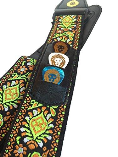 Golden Lion's 60's Jacquard Vintage Guitar Strap with Pick Pocket