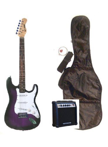 Full Size 39″ Inch PURPLE Electric Guitar & Gig Bag, Strap, Cable, and 10 Watt Amplifier Combo Pack & DirectlyCheap(TM) Translucent Blue Medium Guitar Pick