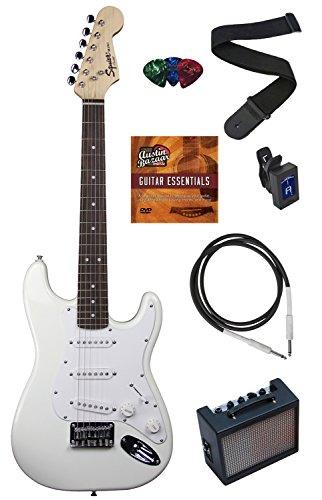 Squier by Fender Mini Strat Electric Guitar Bundle with Amplifier, Cable, Tuner, Strap, Picks, Austin Bazaar Instructional DVD, and Polishing Cloth – Arctic White