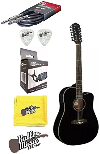 Oscar Schmidt OD312CEB 12 String A/E Spruce Top Guitar w/Effin Tuner and More