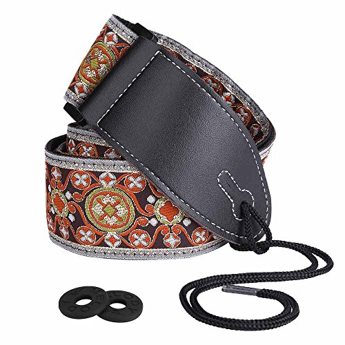 Guitar Strap, XIXOV 2″ Retro Hootenanny Style Woven Braided Adjustable Electric Guitar Strap with tie, Leather Ends Bass Strap- Bouns Srtap Locks