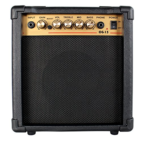 YMC 15-Watt Electric Guitar Combo Amplifier with Boost Switch and 1/4″ Headphone Out, Starter Amp -Black