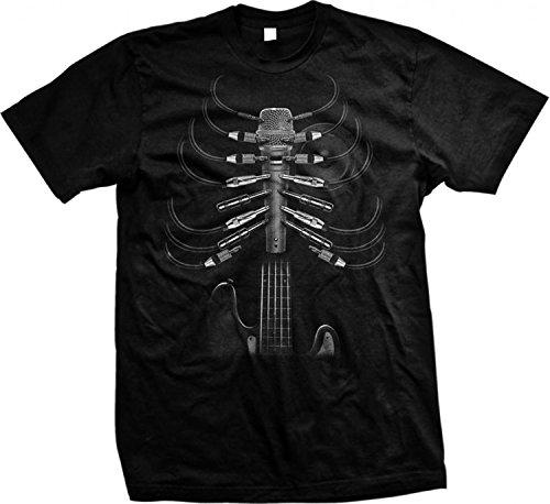 Cool Music T Shirt Amped Up Guitar Rib Cage Mens Tee S-5XL (Black, L)