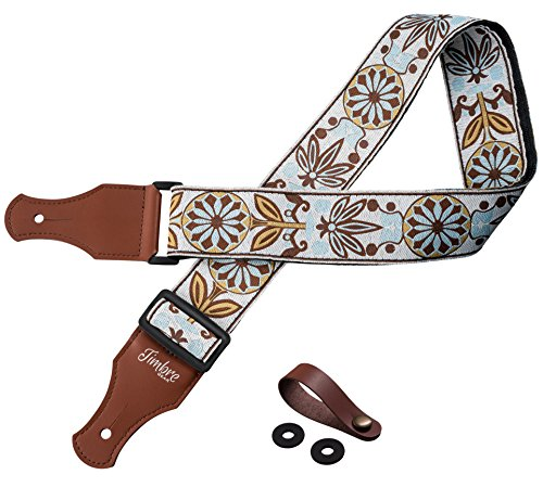 TimbreGear Vintage Woven Collection Strap Set For Acoustic and Electric Guitar Includes Strap Button and Strap Locks