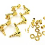 JieRui 6 Pieces Golden Acoustic Guitar Machine Heads Knobs Guitar String Tuning Peg Tuner(3 for Left + 3 for Right)
