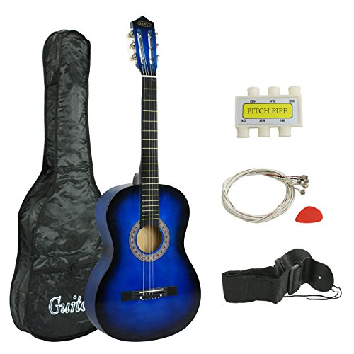 Zeny 38″ New Beginners Acoustic Guitar With Guitar Case, Strap, Tuner and Pick (Blue)