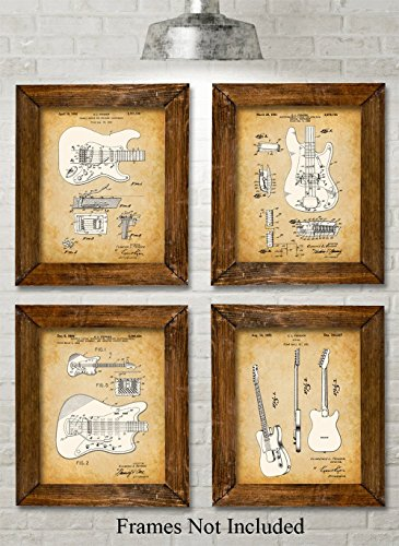 Original Fender Guitars Patent Art Prints – Set of Four Photos (8×10) Unframed – Great Gift for Electric Guitar Players