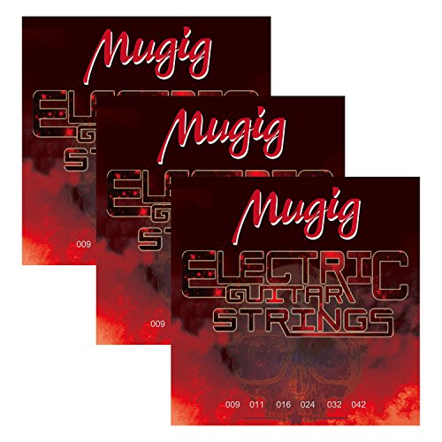 Mugig Guitar String,Guitar Accessories,Phosphor Bronze Electric Guitar Strings,Super Light ,Pack of Three (Electric Guitar)