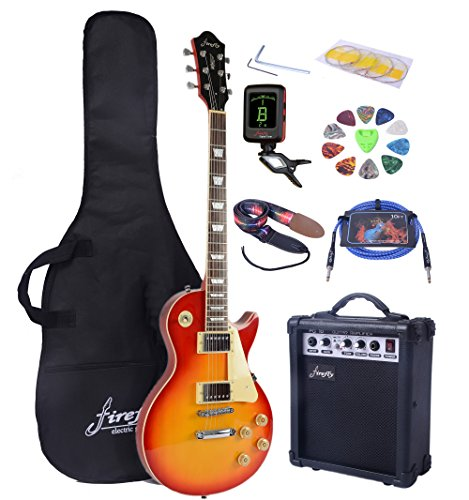 Full Size Electric Guitar with Amp, Case and Accessories Pack (Sunburst)