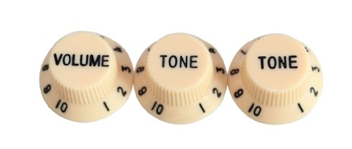 Surfing Speed Volume Tone Knob For Electric Guitar Set Cream (Pack of 3)
