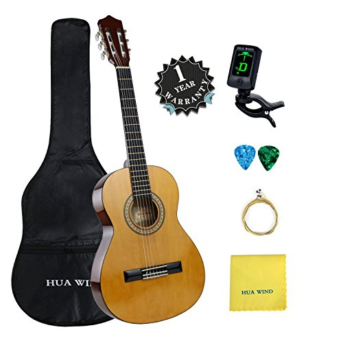 Classical Guitar set HUA WIND 36″ inch 3/4 Size Starter Classical Acoustic Guitar with Gig bag, Tuner, Picks, Strings, Polishing Cloth