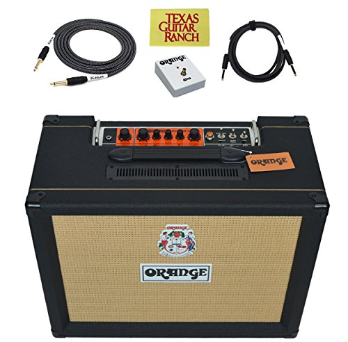 Orange Amps Rocker 32 Guitar Combo Amplifier with Footswitch Cable Bundle, Black