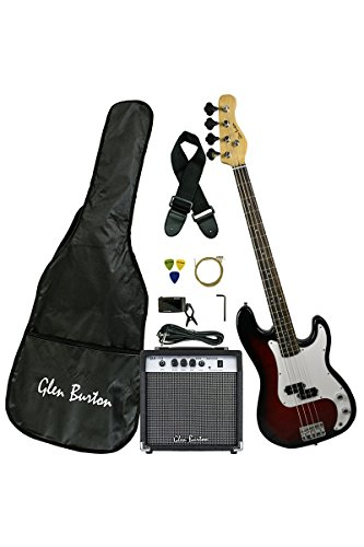 Premium Solid Body Red Electric Bass (Base) Guitar Combo with 15 Watt Bass Amplifier, Extra Strings, Digital Tuner, Gig Bag, Guitar Strap, & DirectlyCheap(TM) Translucent Blue Medium Pick