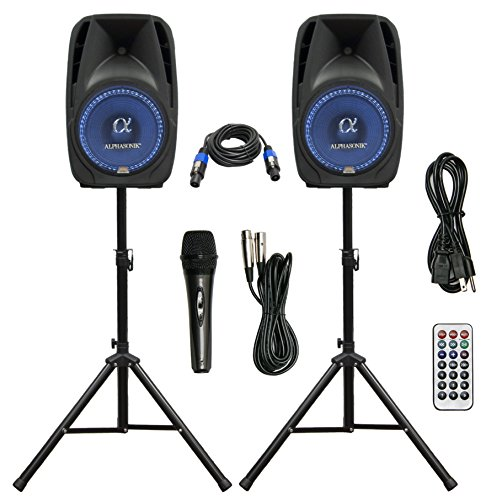 Pair Alphasonik All-in-one 12″ Powered 1500W PRO DJ Amplified Loud Speakers with Bluetooth USB SD Card AUX MP3 FM Radio PA System LED Lights Karaoke Mic Guitar Amp 2 Tripod Stands Cable and Microphone