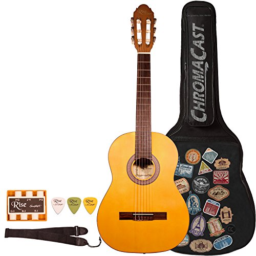 Rise by Sawtooth ST-RISE-CL-N-KIT-1 Beginner'S Classical Guitar , Full Size, Satin Gold Stain