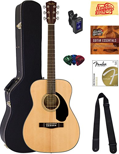 Fender CC-60S Concert Acoustic Guitar – Natural Bundle with Hard Case, Tuner, Strap, Strings, Picks, Instructional DVD, Polishing Cloth