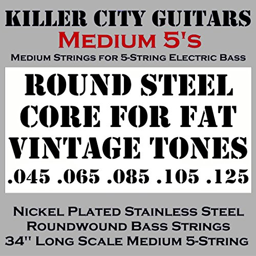 KCG Medium Bass Strings for 5-String Bass – Solid Core for Fat Vintage Tones Coupled with Nickel Plated Steel Winding for Enhanced Brightness and Warmth