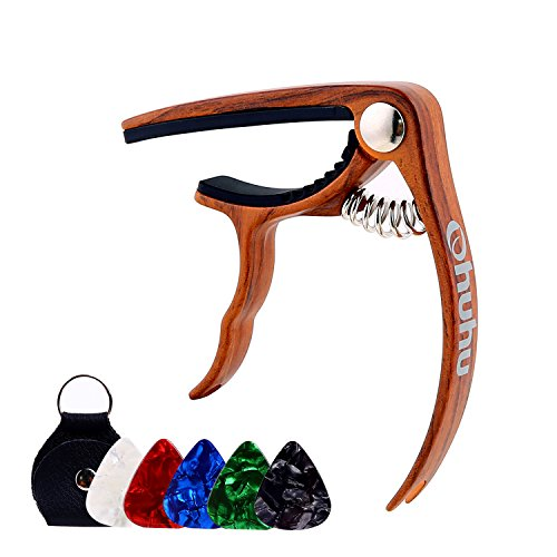Ohuhu Guitar Capo for Acoustic,Electric Guitars, Ukulele,Zinc Alloy- Quick Change Guitar Capo With Free 5 Picks & Pick Holder( RoseWood Color), Acoustic Guitar Accessories Trigger Capo Key Clamp
