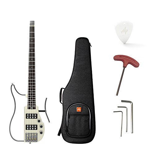 ammoon Foldable Travel Electric Bass Guitar Headless ALP RG-100 Maple Neck Rosewood Fingerboard with Gig Bag