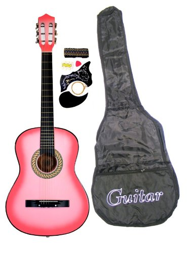 38″ PINK Student Acoustic Guitar Starter Package, Guitar, Gig Bag, Strap, Pitch Pipe Tuner & 2 Months Free Live Guitar Lessons + Pick (PK-AG38-LES-2)