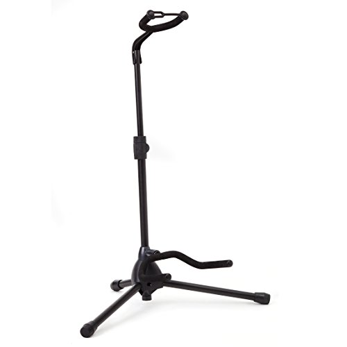 Universal Guitar Stand by Hola! Music – Fits Acoustic, Classical, Electric, Bass Guitars, Mandolins, Banjos, Ukuleles and Other Stringed Instruments – Black