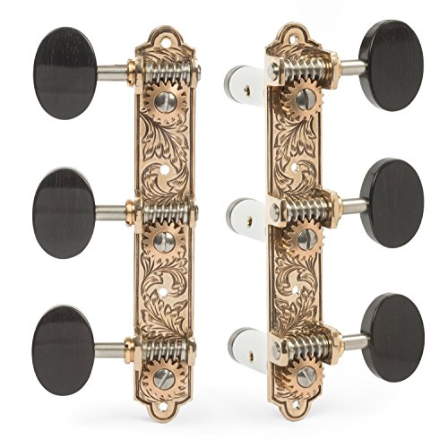 Sloane Classical Guitar Tuning Machines with Leaf Bronze Baseplates and Ebony Knobs